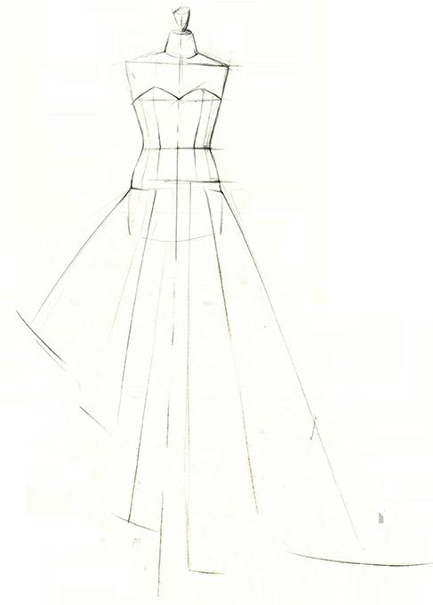 dessin robe de mariage